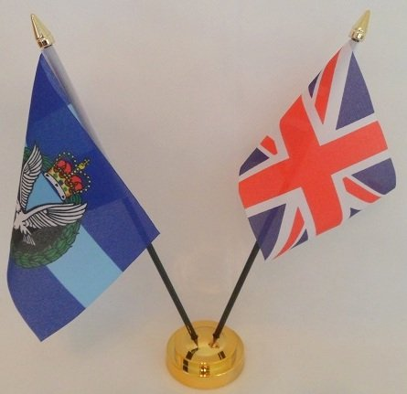 British Army Air Corps-Union Jack-Drapeau de Table 2 amitié affichage avec Base dorée