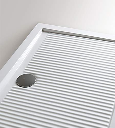 Receveur de douche 70 x 100 cm, rectangulaire, céramique, blanc, bleu clair.