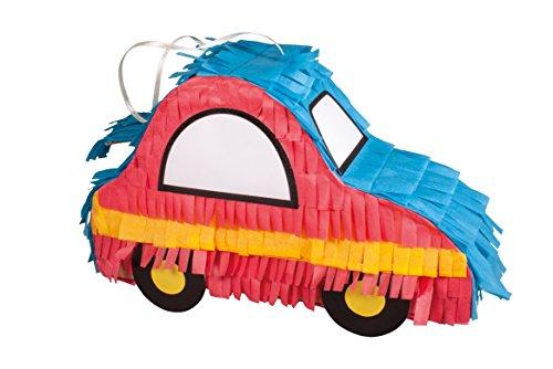 Rayher 70033000 Piñata Funny Car Bastelpackung, 26 x 18 cm, Tiefe 8 cm, unbefüllt, zum Befüllen mit Süßigkeiten, ideal für Kindergeburtstage, Partys, Hochzeiten, usw., rot/blau/gelb