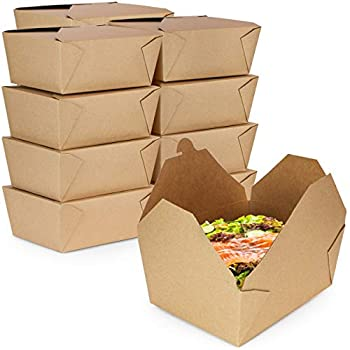 [33 Pack] 110 oz Paper Take Out Containers 8.8 x 6.5 x 3.5  - Kraft Lunch Meal Food Boxes #4 Disposable Storage to Go Packaging Microwave Safe Leak Grease Resistant for Restaurant and Catering