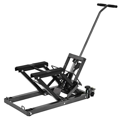 Goplus Motorcycle ATV Hydraulic Scissor Lift Jack Stand Quad Dirt Street Bike Hoist 1500 Lbs (Black)