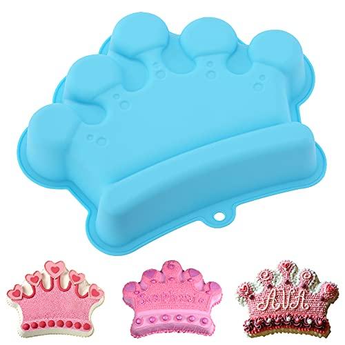 Crown Cake Pan, 3D Crown Shape Baking Pan, Silicone Cake Mold Cake Pan, Novelty Cake Molds Silicone, Wedding Christmas Birthday Cake Baking Pan, Cake Molds for Baking, 10.6 x 8.3 x 1.6in (Blue)