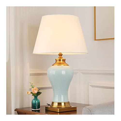 &Tischlampe Tischlampe - Europäischer Luxus-Schreibtisch-Licht, Stoff Keramik Verkupferung, Dimmbare E27 * 1, Wohnzimmer-Sofa-Dekor Schlafzimmer Nacht Hotels Nachttischlampe (Color : B)