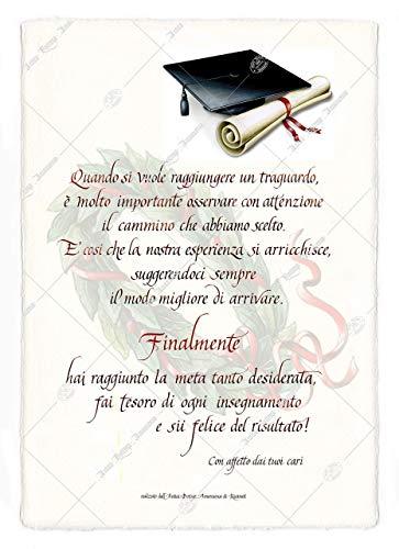 Pergamena di Laurea decorata con calligrafia. Elegante idea regalo personalizzata con la tua dedica