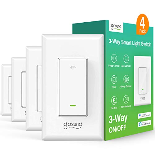 3-Way Smart Light Switch, WiFi Smart Switch for Light Compatible with Alexa, Google Assistant, Neutral Wire Required, Remote Control, Etl and Fcc Listed,4 Pack