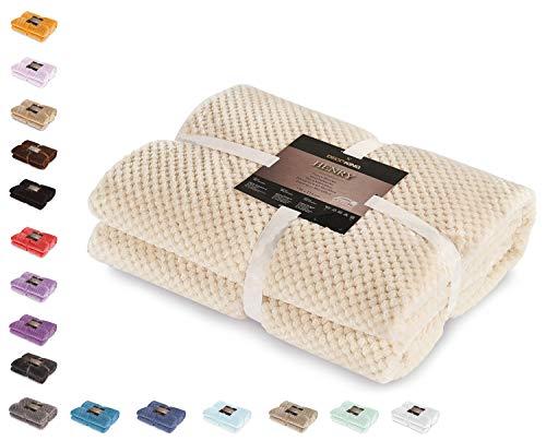 DecoKing 66003 Kuscheldecke 220x240 cm beige Decke Microfaser Wohndecke Tagesdecke Fleece weich sanft kuschelig skandinavischer Stil Cappuccino Henry