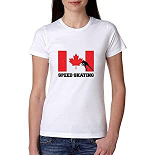 Customer reviews Canada Olympic - Speed Skating - Flag - Silhouette Women's Cotton T-Shirt:Dailyvideo