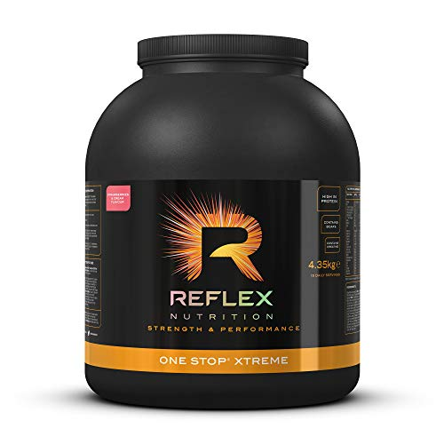 Reflex Nutrition One Stop Xtreme Serious Mass Protein Powder 55g Protein 10.3g BCAA'S, 73g Low GI Carbs 5,000mg Creatine & Added Vitamins (Strawberries & Cream, 4.35kg)