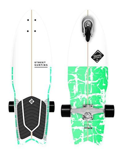 Street Surfing Surfskate Shark Attack Longboard Skateboard mit Selbstantrieb, 76,2 cm x 22,9 cm, Psycho Green Surf inspiriertes Design, langlebige ABEC 9 Rollen