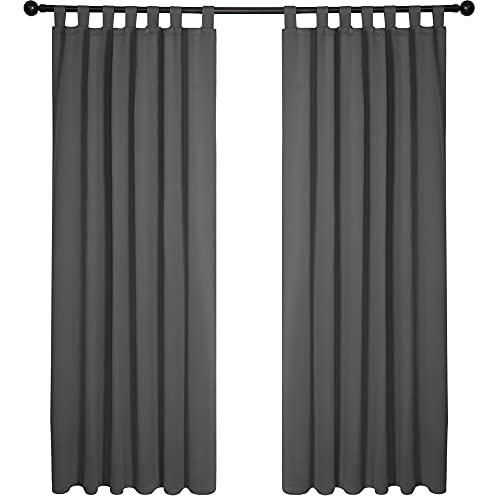 Deconovo Verdunklungsvorhänge Schlaufen Gardinen Lärmschutzvorhang 175x140 cm Dunkelgrau 2er Set