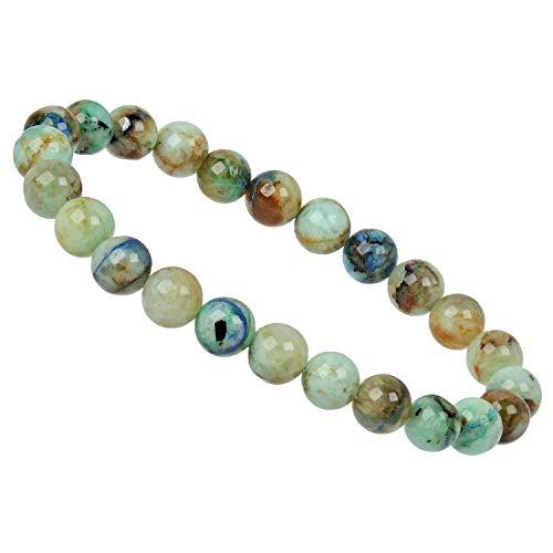 ELEDORO PowerBead - Pulsera elástica de perlas de piedras preciosas, 8 mm, crisocola, azurita de grado AAA