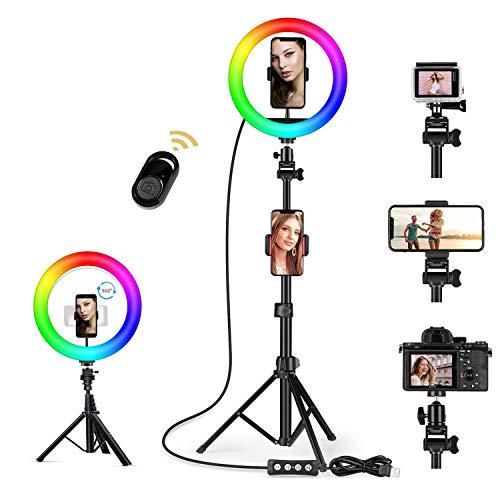 10 'Selfie Luce Anello/Ring Light da Con Supporto per Treppiede Regolabile, 15 colori RGB e 3 supporti per telefono, remoto per fotocamera per trucco, YouTube, TIKTOK