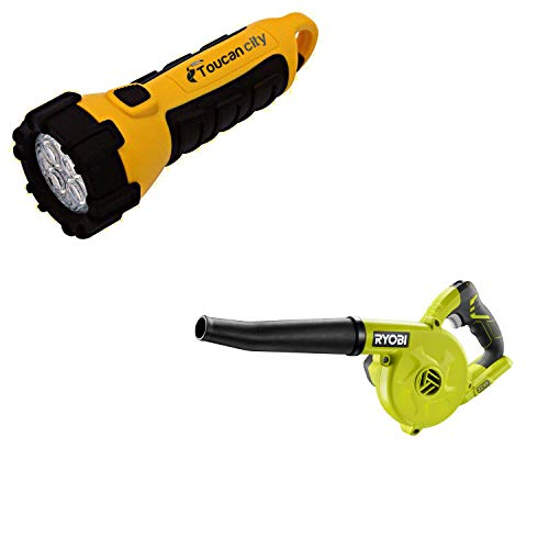 Toucan City LED Flashlight and RYOBI 18-Volt ONE+ Cordless Compact Workshop Blower (Tool Only) P755