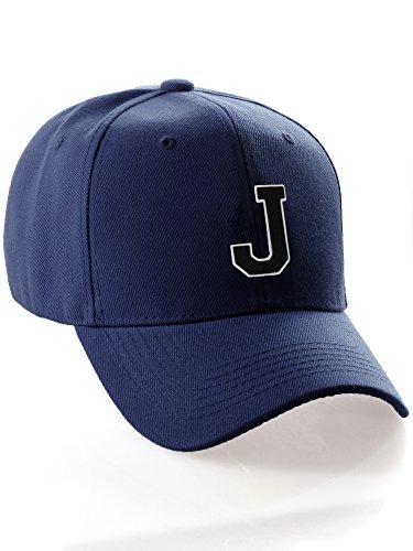 Classic Baseball Hat Custom A to Z Initial Team Letter, Navy Cap White Black Letter J