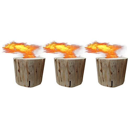 3 x Schwedenfeuer inkl. Anzünder | Finnenfeuer | Baumstammfackel | Gartenfackel | Lichtrollen | Höhe ca. 9cm, Durchmesser ca. 8,5-10,5cm, Brenndauer ca. 20-30 Minuten