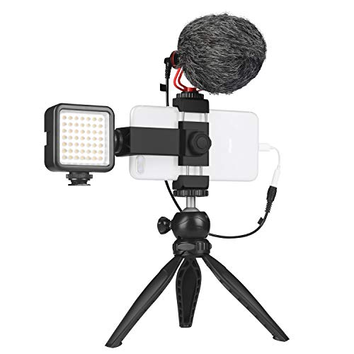 Smartphone Vlogger Kit with LED Light, Tripod for iPhone and Samsung