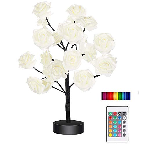 Night Light Color Changing Flower Tree Rose lamp with Remote Control with Timer Christmas Birthday Gift for Girl Kids Women for Holiday and Party Home Room Decoration(Black)………