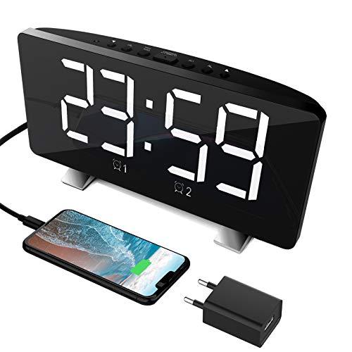Radiowecker,Digital Wecker Tischuhr mit großem LED-Display,automatischem Dimmer, 3 Stufen Helligkeiten,FM Radio, Sleep-Timer,USB-Ladeanschluss,Backup Batterie