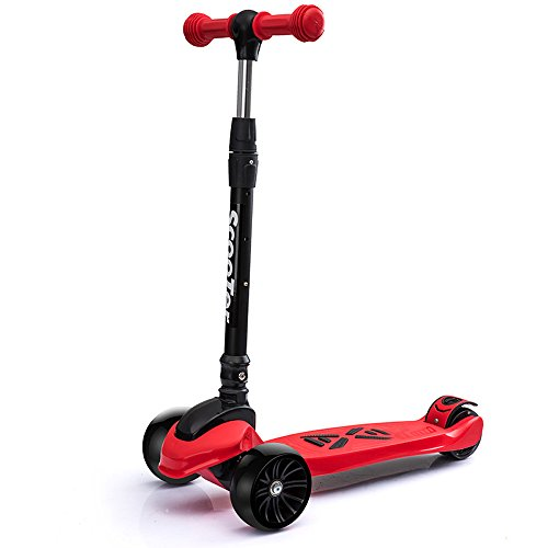 Find Bargain Rishx Widening Flash Wear PU Wheel Three Wheel Scooter Adjustable Height One Second Folding Kick Scooter Lean/Tilt Steering T-Bar Bobbi Board for Boys/Girls/Children/Kids – Ages 3-14 (Color : Red)
