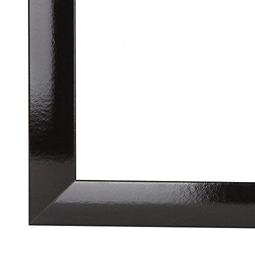 Olimp Bilderrahmen 100x140 oder 140x100 cm in SCHWARZ Hochglanz AntiReflex Kunstglas und Rückwand, 35 mm breite MDF-Leiste mit Dekor Folienummantelung