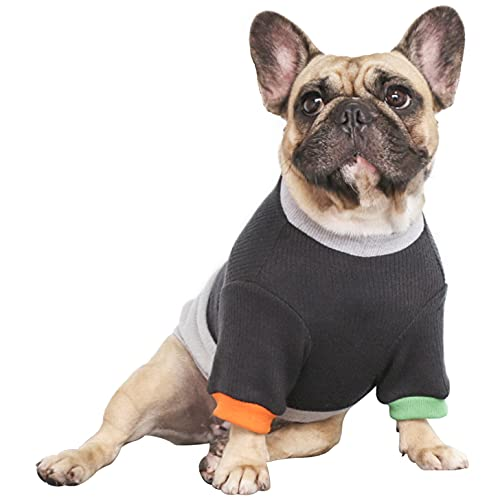 iChoue Pet Dog Crewneck Sweater Color Block Pullover Winter Warm Clothes for French Bulldog Pug Boston Terrier - Black and Grey/L