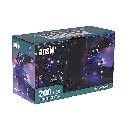 ANSIO Cadena Luces de Navidad 200 LED Multicolor Interior/Exterior Luces de árbol...