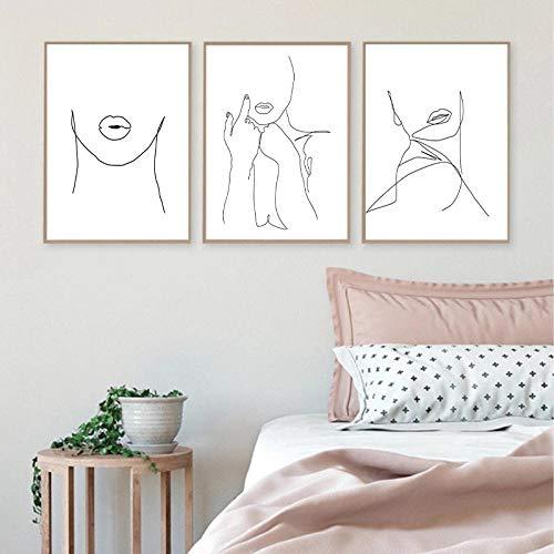 FA LEMON Abstrakte Frau Gesicht Linie Zeichnung drucken Wandkunst Poster weibliche Lippen Hände Kunst Leinwand Malerei Dekor-40x60cmx3 Stück kein Rahmen