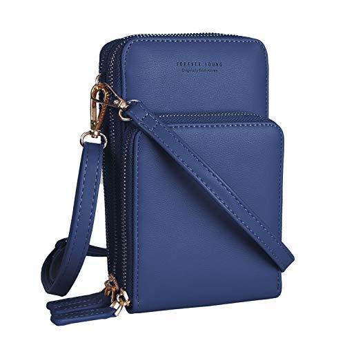 LATH.PIN Bolso bandolera de piel pequeño ligero bolso portatil mini con dos correa ajustable ranura para tarjeta Azul Size: Talla única