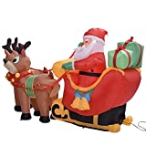 Muñeco de Navidad Inflable de Santa Lindo tirado por 2 Luces de Reno Fiesta Jardín al Aire Libre Decoración de Patio Muñeca de Navidad, práctica