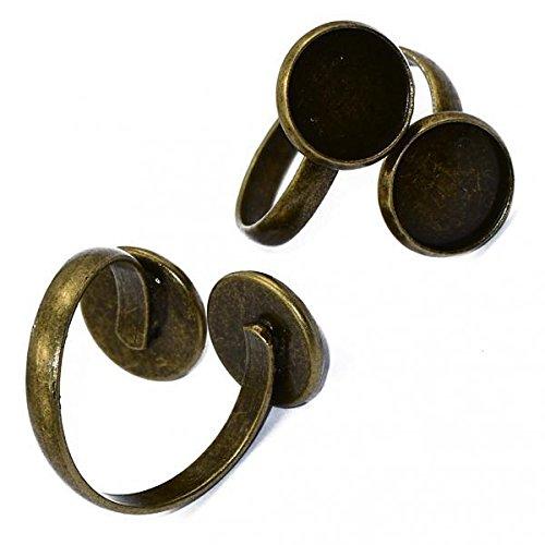 Colcolo 2x 2x Antigo Anel de Bronze Blanks Ajuste Base 12mm com Descobertas Do Ofício de Cabochon