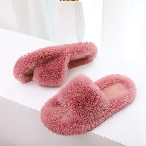 B/H Casa De Mujer Zapatillas Peluche Mujer,Pantuflas de algodón de otoño e Invierno, Pantuflas Planas con Punta Abierta-Red_40,Invierno Memory Foam Antideslizante Pantuflas
