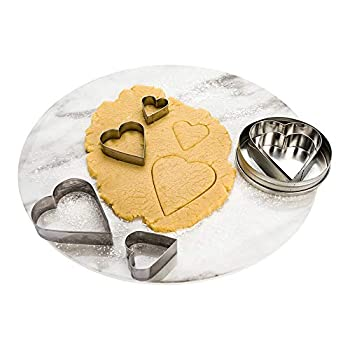 Pastry Tek 6-Piece Heart Cookie Cutters 1 In Tin Box Heart Shaped Cookie Cutter Set - Mulitple Shapes Precise Outlines Metal Heart Cutter Set For Creating Different Sized Cookies - Restaurantware