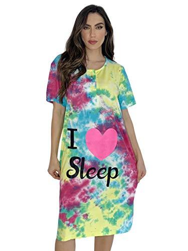 Just Love Camisón de manga corta para mujer, Tinte con manchas brillantes, S