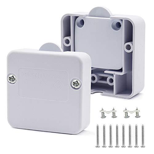 CCUCKY 2A 250V Interruptor Armario, 2 Piezas Interruptor de Luz de Empuje para Romper, para Todo Tipo de Puertas de Gabinete (blanco)
