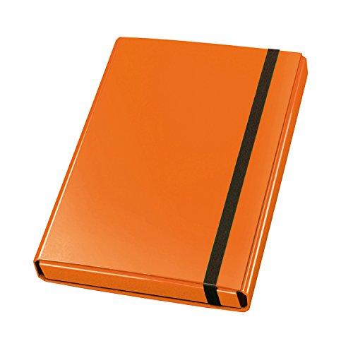 Veloflex 4443330 Sammelbox Velocolor, DIN A4, mit Gummizug, Dokumenten-Box, Heft-Box, aus Karton, orange