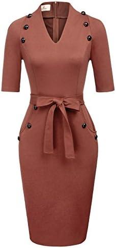 Women s Official V Neck Half Sleeve Chic Business Sheath Dress XL Orange product image