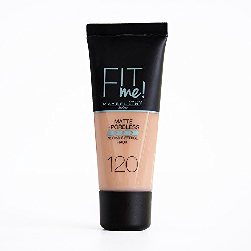 Maybelline Fit me! Matte&Poreless Make-up Nr. 120 Classic Ivory, flüssiges Make-up, passt sich dem Hautton an, feuchtigkeitsspendend, mattierend, leichte bis mittlere Deckkraft, 30 ml
