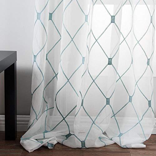 Geometrische geborduurde vitrages Tule raamgordijnen voor keuken Woonkamer Slaapkamer Witte voile voor café, groenblauw, op maat gemaakt