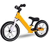 VARY Bicicleta sin Pedales para niños y niñas 3-6 años   Bici con Ruedas de 12' Edición Sport con sillín y manubrio Regulable,Amarillo