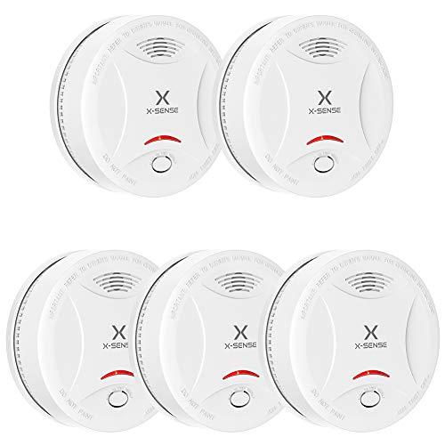 X-Sense Rauchmelder mit 10 Jahren Batterielaufzeit, TÜV und DIN EN 14604 geprüfter Rauchwarnmelder, Feueralarm mit fotoelektrischem Sensor | Verbesserte Ausführung, SD13, 5 Stücke
