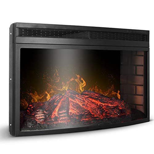Della BELLEZE 33' Electric Fireplace Insert Freestanding & Recessed Stove Heater Overheating Safety Protection Touch Screen Remote Control 1400W with Timer
