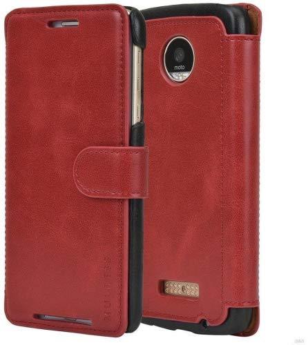 Mulbess Handyhülle für Motorola Moto Z Play Hülle Leder, Layered Dandy Leder Flip Tasche für Motorola Z Play SchutzTasche Cover Etui, Wein Rot