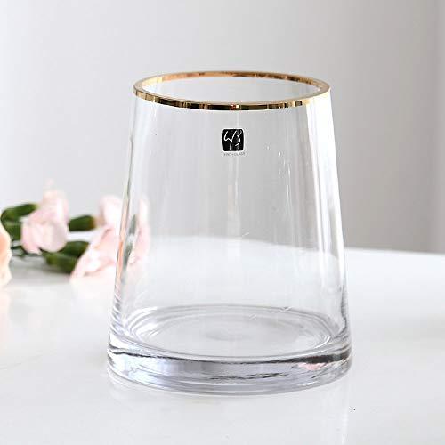 Qeepenl Al Estilo Europeo de Oro Borde de cerda Joven de Lujo Transparente Disposición de un Cristal decoración del florero Sala Flor hidropónica plástico Lirio japonés Recta florero