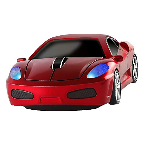 Wireless Mouse 2.4GHz Cool Sport Car Shape Wireless Mouse Optical Cordless Mice with USB Receiver for PC Laptop Computer Notebook 1600 DPI (Red)