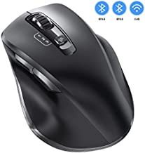 Bluetooth Mouse, Vogek Wireless Computer Mouse - Easily Switch Up to 3 Devices with 3 Levels Adjustable DPI Noiseless Optical 2.4GHz Bluetooth Mice for Laptop iPad Computer Windows/Mac/Android Black