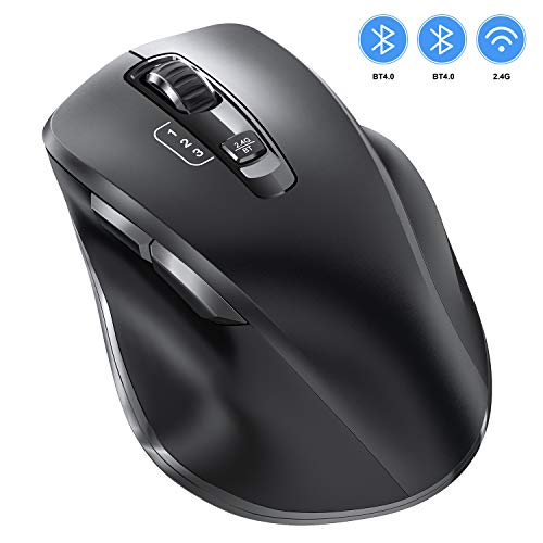 VOGEK Bluetooth Maus, 2.4Ghz+Bluetooth Kabellose Mouse USB Verbindung Wireless Optische Bluetooth Maus 3 Einstellbare DPI leise Funkmaus für PC/Tablet/Laptop und Windows/Mac/Linux/Android/iOS/iPadOS