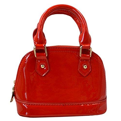 AiSi Damen mini Lack Leder Handtasche/Damenhandtasche/Schultertasche/Crossbody Bag/Umhängetaschen/Henkeltasche mit Reißverschluss Umhängekette Rot