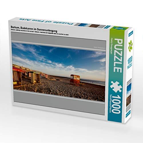 CALVENDO Puzzle Borkum, Badekarren im Sonnenuntergang 1000 Teile Lege-Größe 64 x 48 cm Foto-Puzzle Bild von A. Dreegmeyer