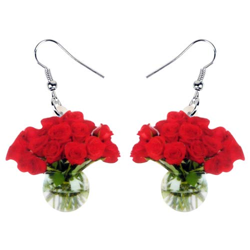 Dames Oorbellen Acryl Mooie Rode Roos Vaas Oorbellen Drop Bengelen Nieuwigheid Bloem Sieraden