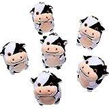 Zomiboo 6 Piezas Lindo Juguete de Vaca manchada Juguete de Vaca de Peluche de 10 cm Muñeca Vaca Kawaii con Cadena de Perlas de Imitación para Mochila o Llaveros
